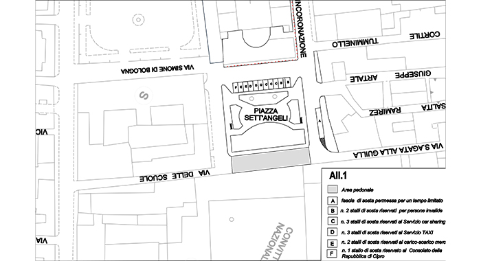 Mobilità - Istituita area pedonale in piazza Sett'Angeli