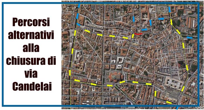 Mobiltà. Chiusura via Candelai dal 20 gennaio. Percorsi alternativi auto