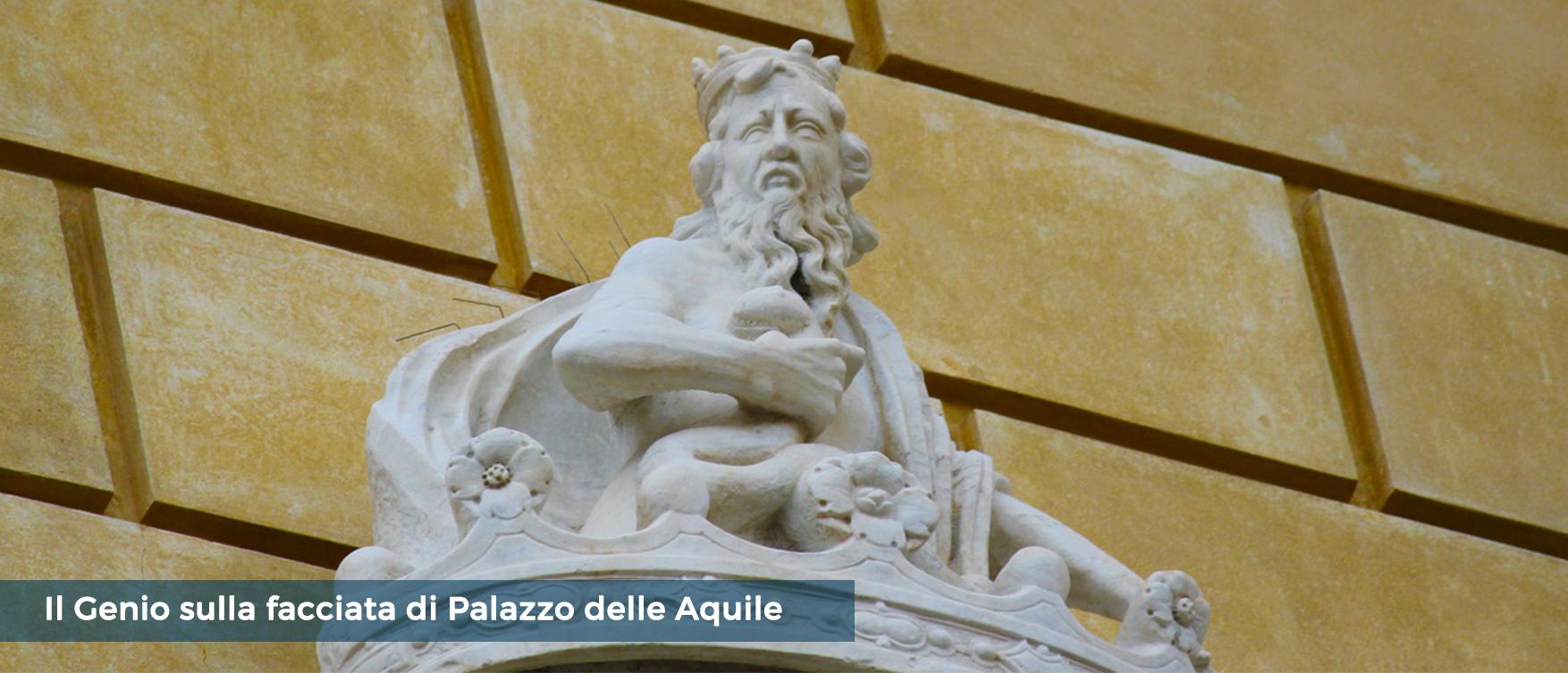 Il Genio sulla facciata di Palazzo delle Aquile