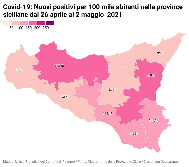 Nuovi positivi per 100 mila abitanti nelle province siciliane dal 26 aprile al 2 maggio 2021