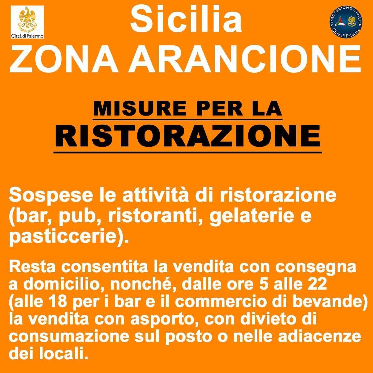 Da lunedì 15 marzo anche la Sicilia torna in zona arancione.