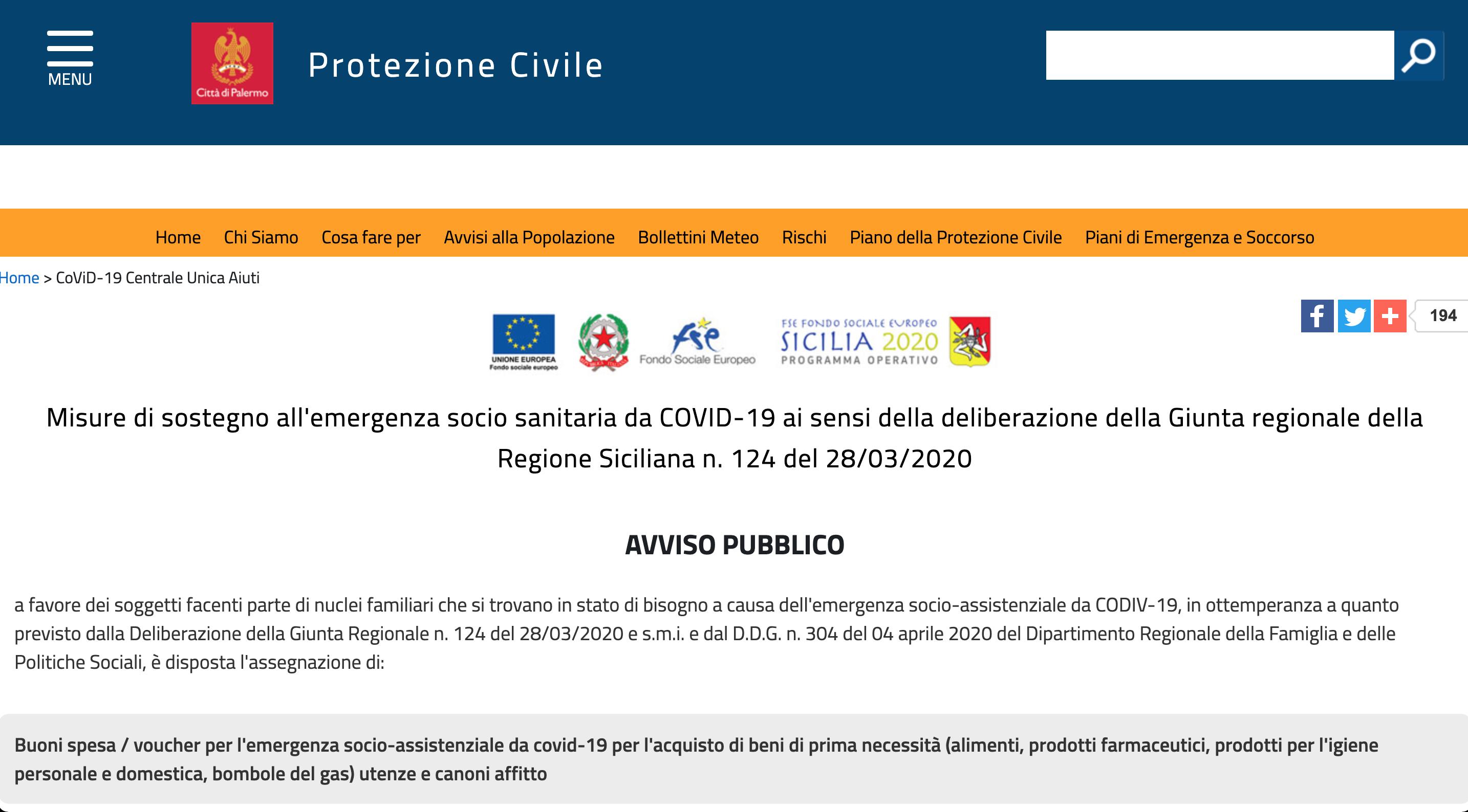 Misure di sostegno all'emergenza socio sanitaria da COVID-19