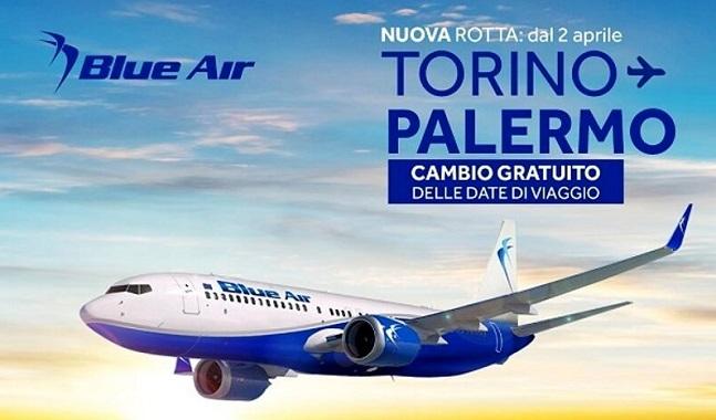 Blue Air lancia la rotta Palermo-Torino: da aprile tre voli settimanali